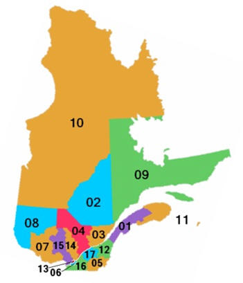 Quebec map of regions